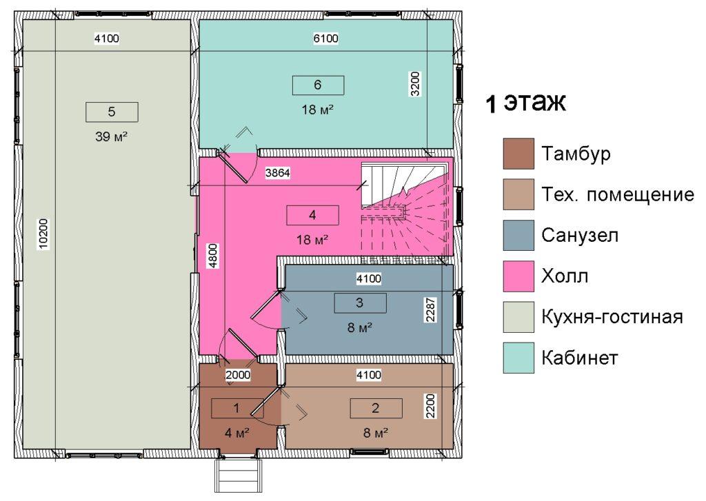 1 этаж план помещений, дом 10 на 10