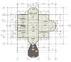 1 этаж размеры, дом 15400 на 14600