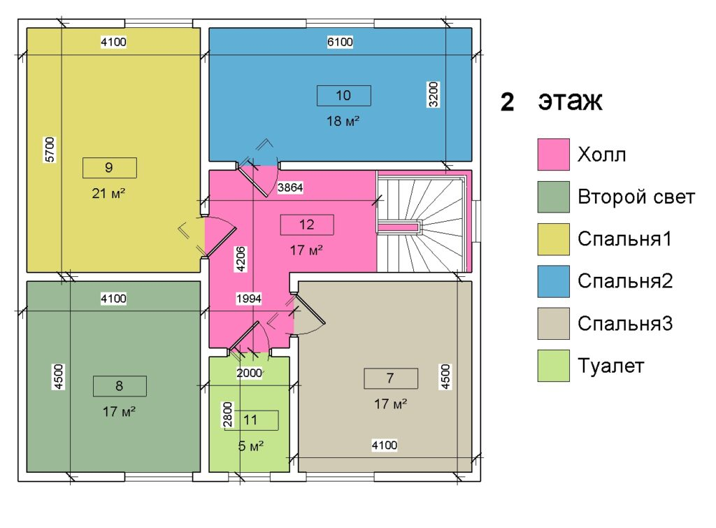 2 этаж план помещений дом 10 на 10