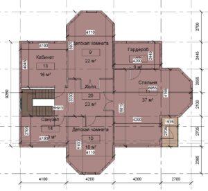 2 этаж размеры, дом 15400 га 14600