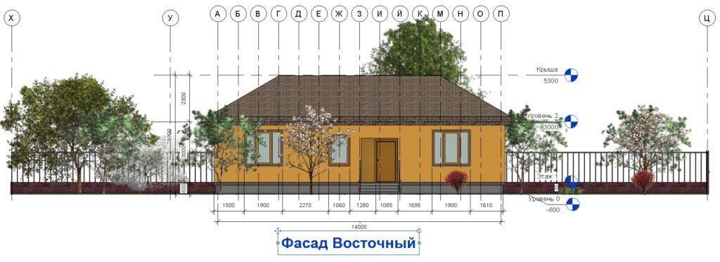 Дом 10 на 14 фасад восточный