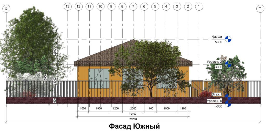 Дом 10 на 14 фасад южный