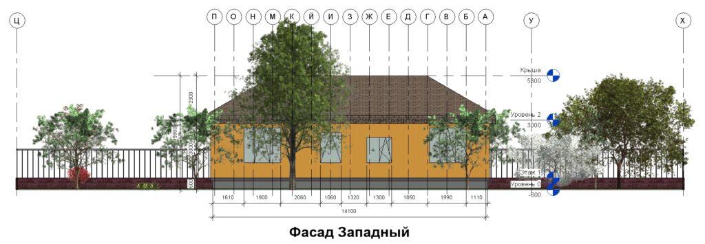 Дом 10 на 14 фасад западный