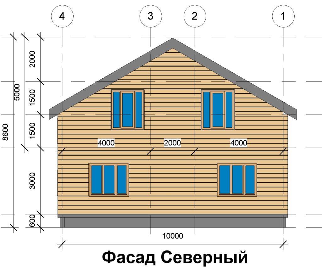 Фасад северный, дом 10 на 10