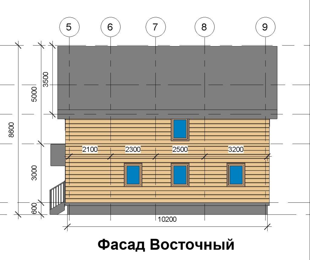 Фасад восточный дом 10 на 10