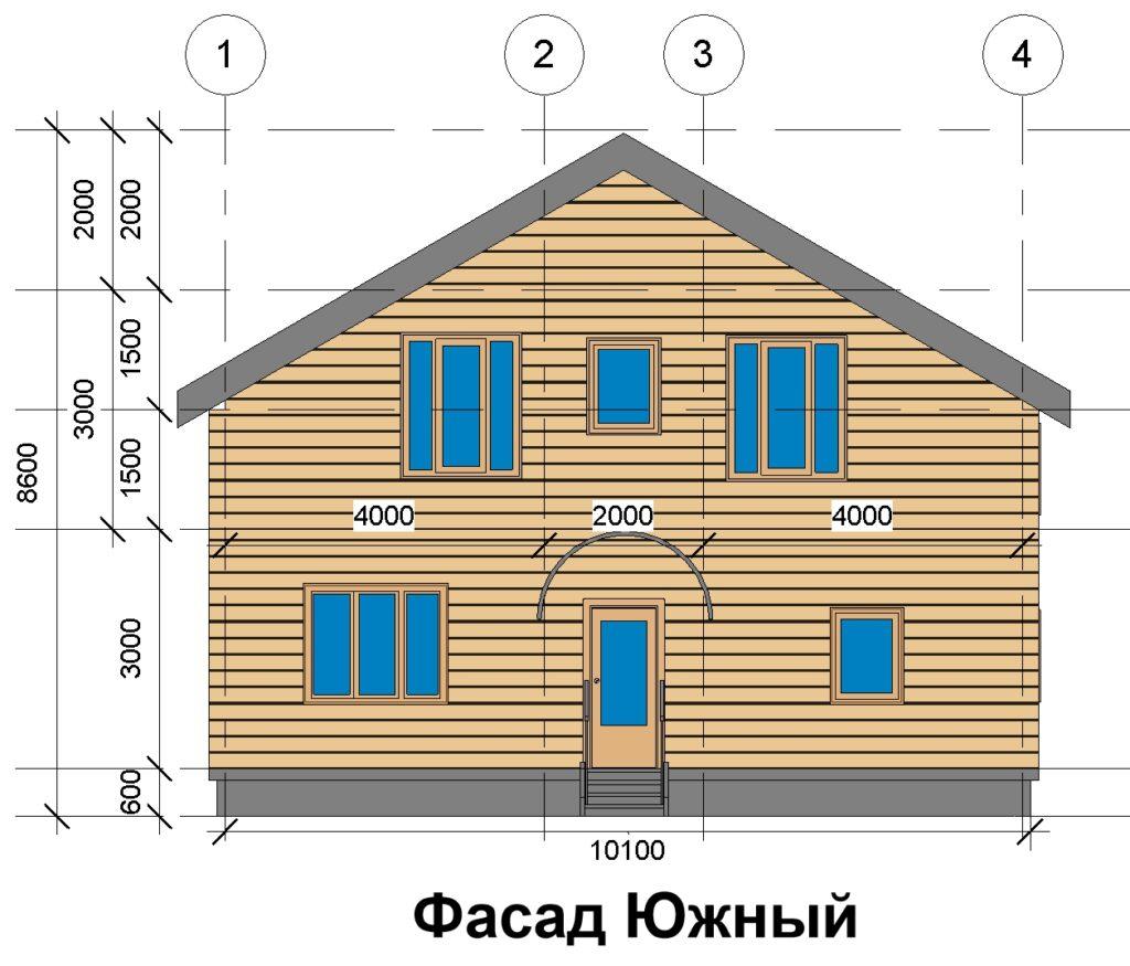 Фасад Южный, дом 10 на 10