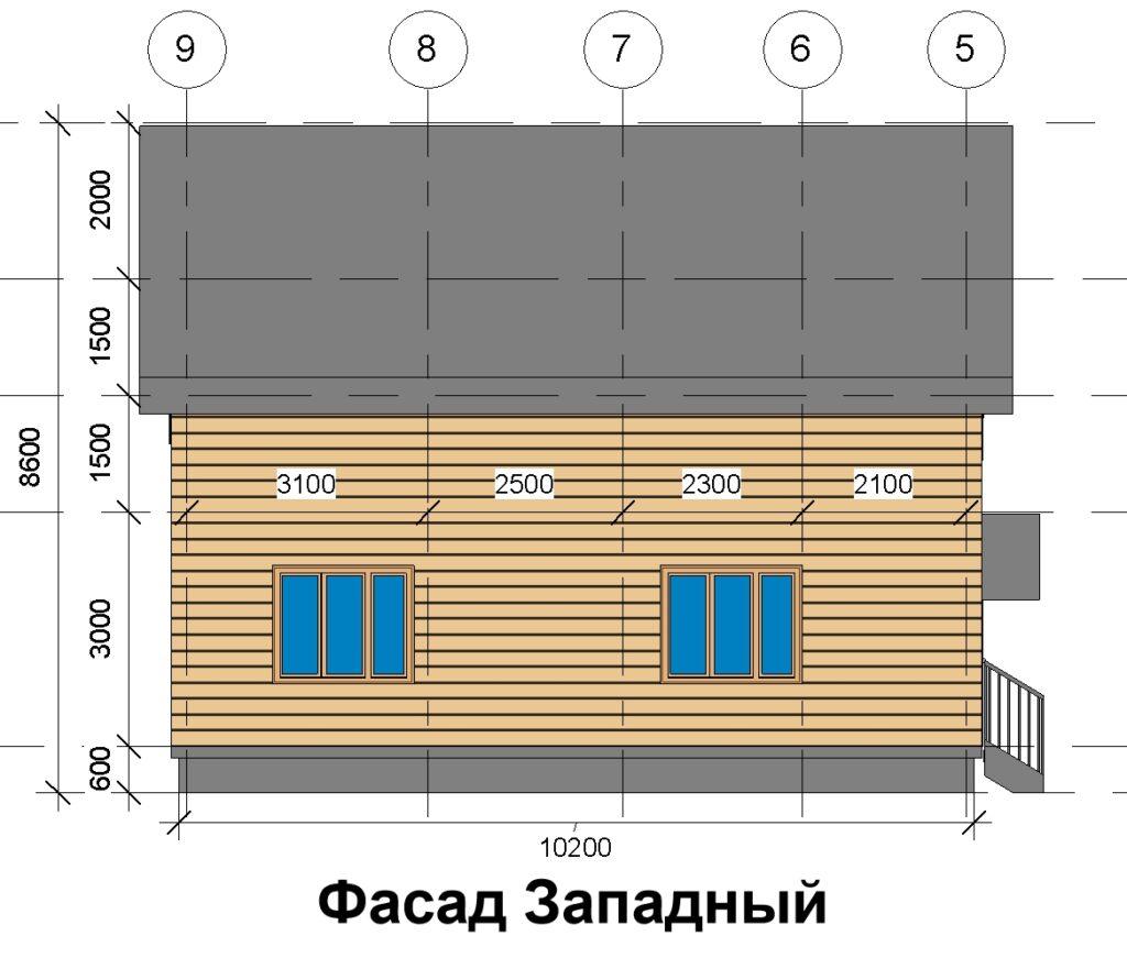 Фасад западный, дом 10 на 10