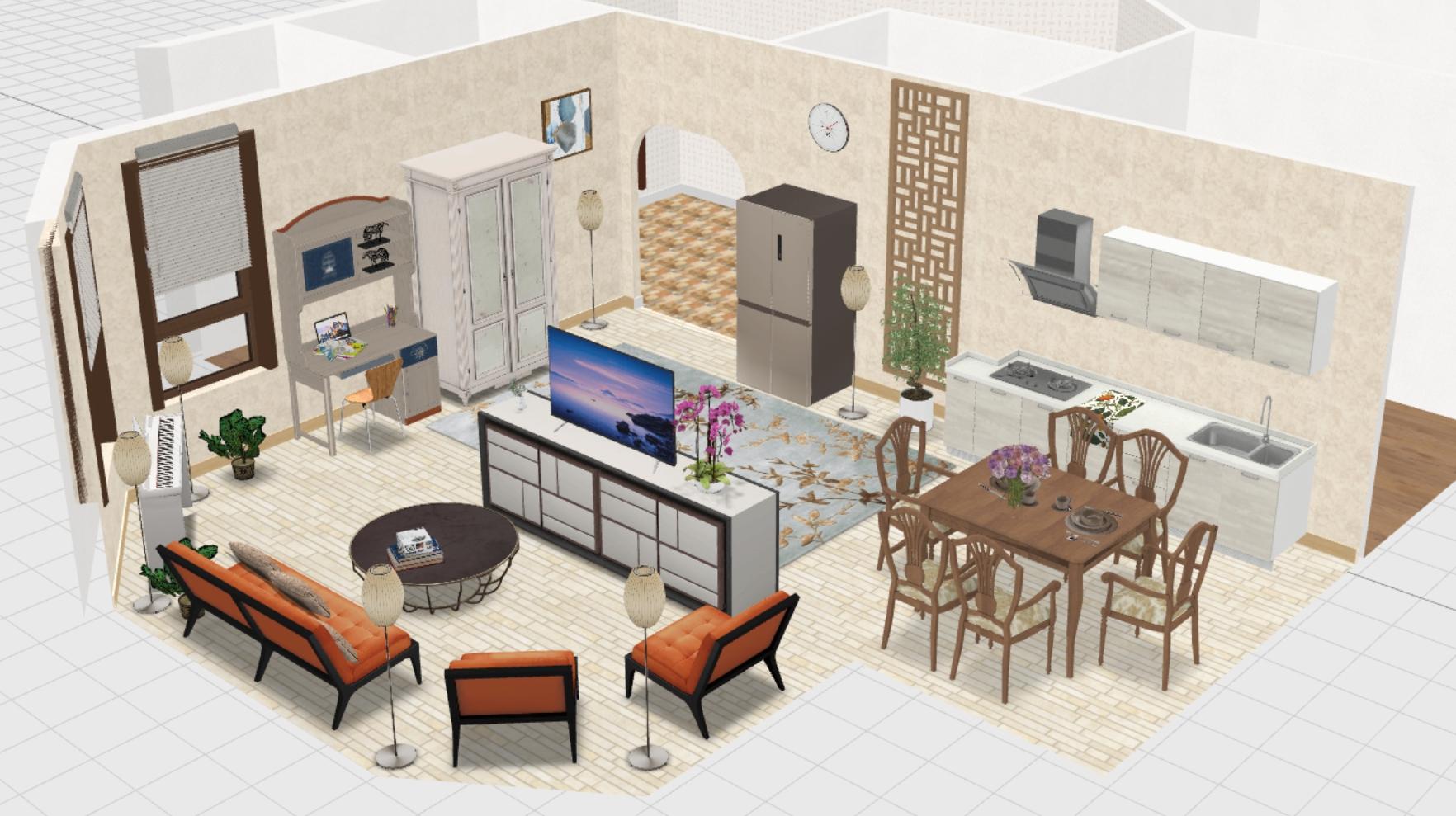 кухня-гостиня с эрекром общий вид